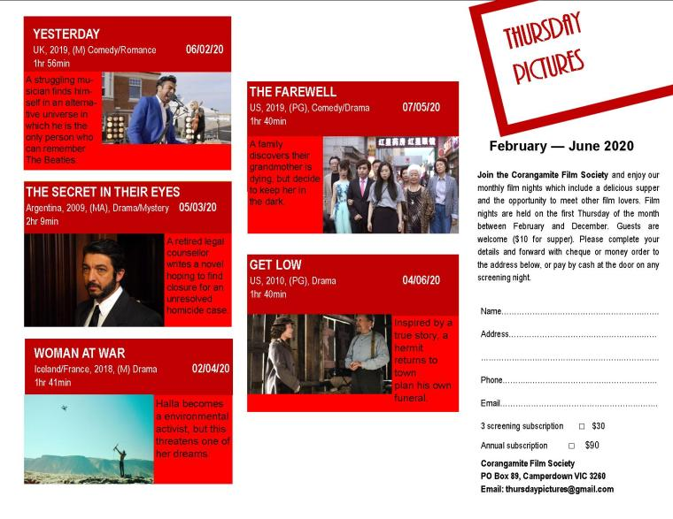 FILM SOCIETY PROGRAM FEB-JUN 2020